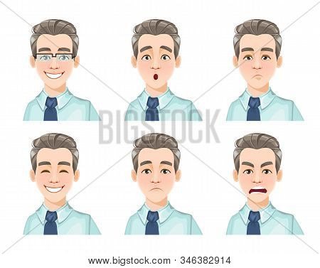 Face Expressions Of Handsome Man, Set Of Six Emotions. Different Male Emotions Set. Young Guy Cartoo