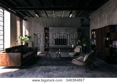 Spacious living room with dark brown and grey interior, vintage armchairs and furniture in 80s design style. 3d Rendering.
