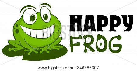 Frog Logo Mascot Vector Illustration. Cute Funny Cartoon Hand Drawn Toad Smiling Isolated On White B