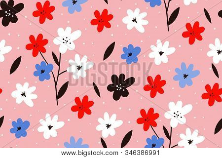 Spring Flower Background. Modern Seamless Pattern With Leaves, Flowers And Floral Elements. Hand Dra