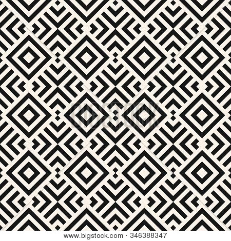 Modern Linear Geometric Seamless Pattern. Abstract Monochrome Geo Texture With Diagonal Lines, Squar