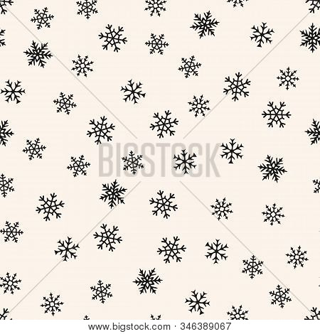 Snow Seamless Pattern. Vector Monochrome Background With Simple Scattered Snowflakes. Elegant Vector