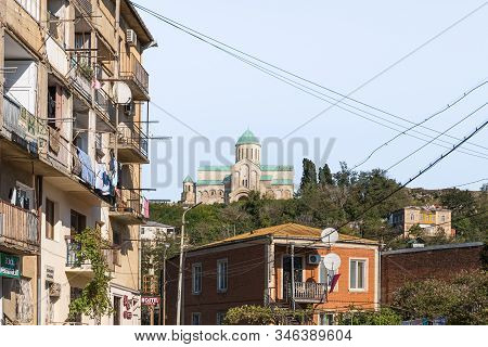 Kutaisi, Georgia, October 13, 2019 : View Of The Bagrati Cathedral From The Street In The Old Part O
