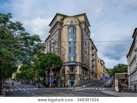 Budapest, Hungary, Aug 2019, View Of A Building With A Pharmacy At The Corner Of Bimbó And Buday Lás
