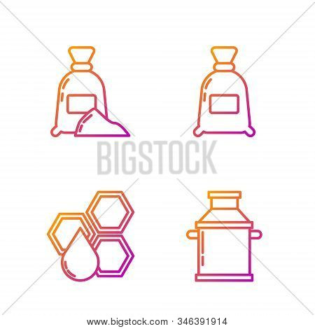 Set Line Can Container For Milk, Honeycomb, Bag Of Flour And Bag Of Flour. Gradient Color Icons. Vec
