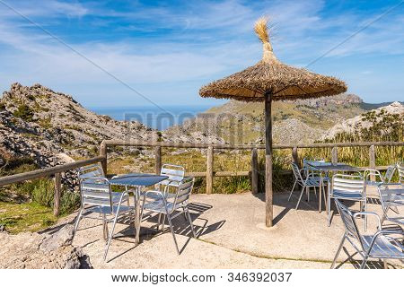 Cafe With A View Of The Mountainous Northwest Coast Of The Island Of Majorca. Spain