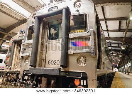 Hoboken, New Jersey, Usa - May 8 2012: New Jersey Transit Commuter Trains And Platform At The Erie L