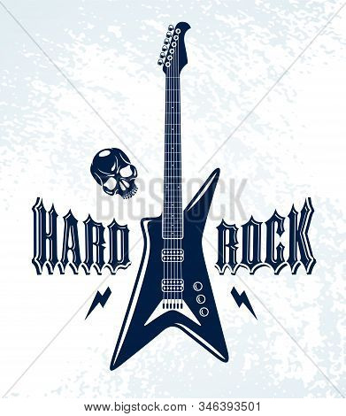 Hard Rock Emblem With Electric Guitar Vector Logo, Concert Festival Or Night Club Label, Music Theme