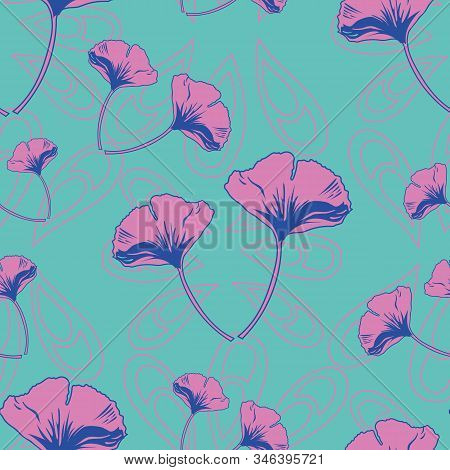 Vector Seamless Pattern Ginko Wax With Pink And Purple Ginkgo Leaves With Pink Arabesques