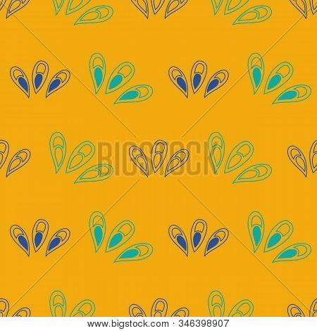 Vector Seamless Pattern Ginko Wax With Blue And Turquoise Ginkgo Leaves And Yellow Background