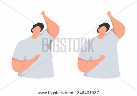 Wet Armpits. Smelly, Sweaty Stains On Male Clothes. Hyperhidrosis People, Sweat Spots Prevention. Ve