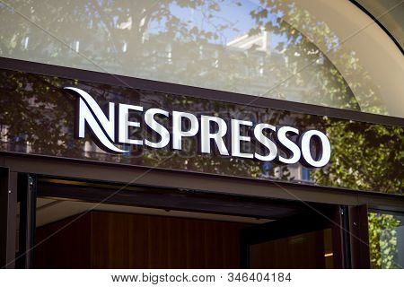 Paris/france - September 10, 2019 : The Nespresso Coffee Store Entrance Sign On Champs-elysees Avenu