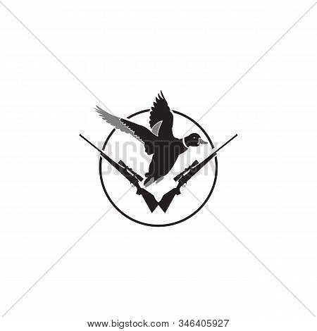 Vector Logo For Duck Hunting, Decorative Rhomb Tag With Illustration Of Flying Male Duck On Trees Ba