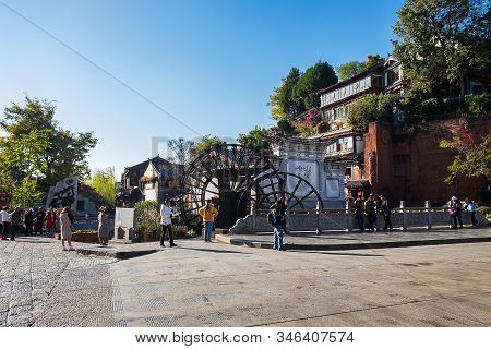 The Two Giant Water Wheels At Lijiang Old Town, Is The Most Ancient Irrigation Tool In China. Landma