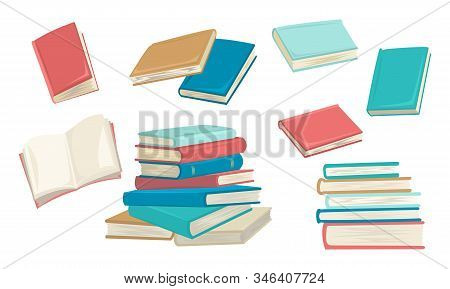 Set Of Books, Different Colors, An Open Book, A Stack Of Books. Notebooks And Notebooks. Vector Illu