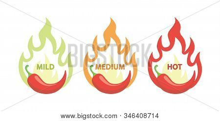 Chili Hot Pepper, Food Level, Level. Vector Red Pepper With Flame Fire Icons.