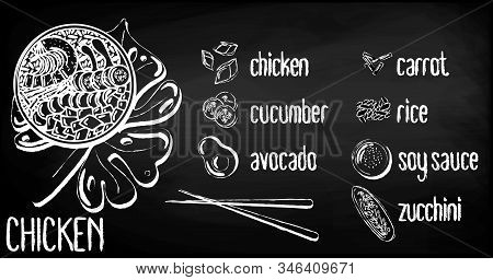 Vector Menu Of Chicken Poke Bowl On Chalk Board Background. Illustrations Of A Lunch Of Hawaiian Cui