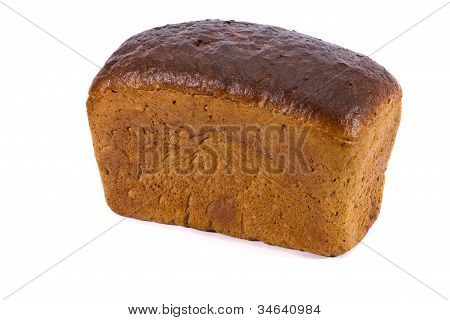 a loaf of rye bread on a white background poster