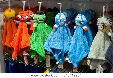 Minsk, Belarus - December 20, 2019: Towels Superheroes Marvel Universe Made By Miniso On Store Shelv