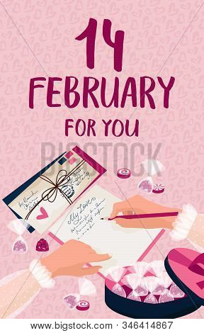 The 14th Of February. Lettering. Valentines Day Concept. The Girl Writes A Love Letter, Sweets, Cand