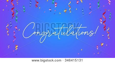 Congratulation Banner With Confetti On Blue Gradient Background