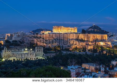 View Of Acropolis And Parthenon From The Philopappos Hill In The Evening, Athens, Greece.