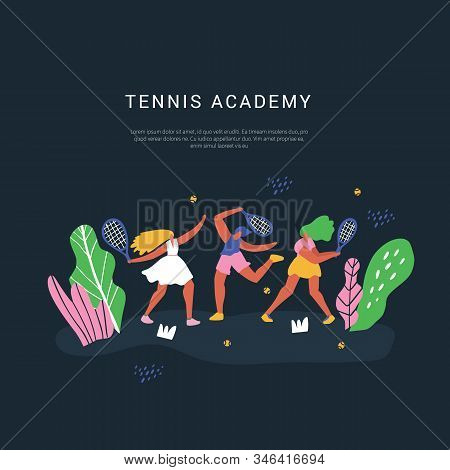 Tennis Academy Vector Social Media Banner Template. Racquet Sport Classes And Lessons Poster Hand Dr