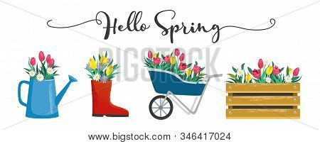 Hello Spring Cute Card With Blossoms And Lettering
