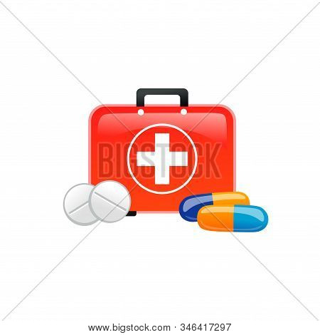 Medicaments And First Aid Kit Icons On White Background Vector Illustration. Collection Of Supplies