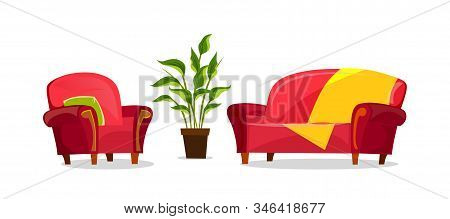 Cartoon Sofa And Armchair In Living Room
