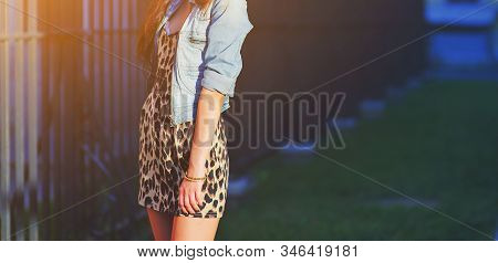 Stylish Long Hair Brunette Woman In A Leopard Animal Print Dress In Blue Denim Jacket, Street Fashio