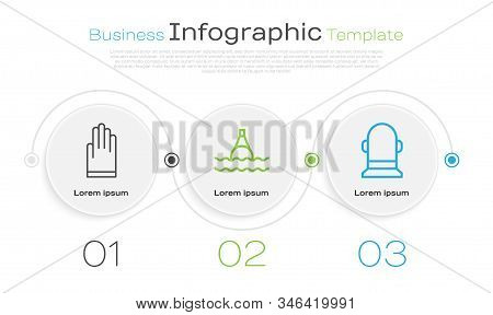 Set Line Gloves, Floating Buoy On The Sea And Buoy. Business Infographic Template. Vector