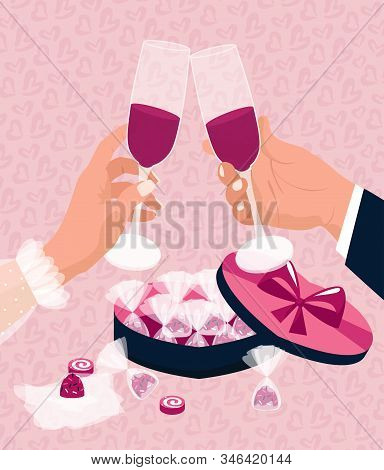 Valentines Day Concept. A Man And A Woman Celebrate February 14 And Clink Glasses With Red Wine And