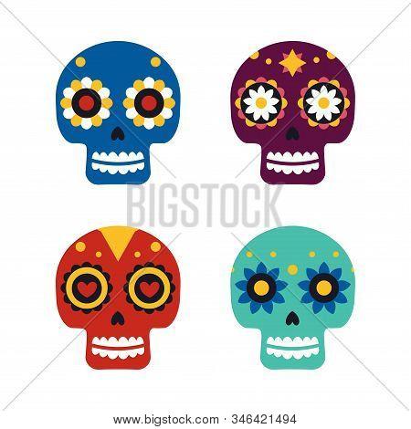 Sugar Mexican Skulls For Dia De Los Muertos Holiday Party. Traditional Mexican Halloween Design For