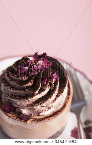 Cupcake With Cacao Cream. Cupcake On Pink Background. Dessert With Cacao And Rose Petals