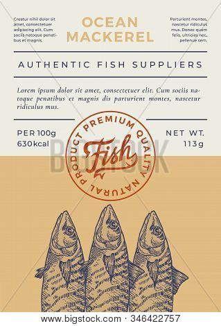 Ocean Fish Abstract Vector Packaging Design Or Label. Modern Typography Banner, Hand Drawn Mackerel