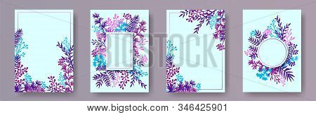 Botanical Herb Twigs, Tree Branches, Leaves Floral Invitation Cards Templates. Bouquet Wreath Elegan