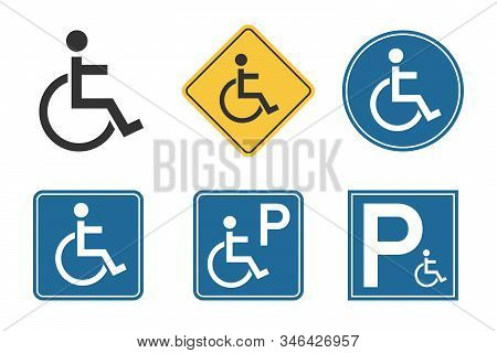 Handicap Icons Set, Wheelchair And Disability Symbol, Handicap Parking Traffic Sign