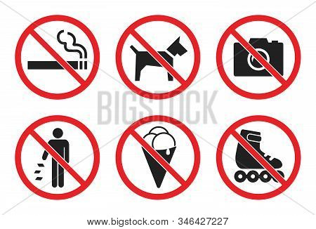 Prohibition Sign Set At The Entrance To The Store, Not Allowed Icons - No Dog, Icecream, Photo, Smok