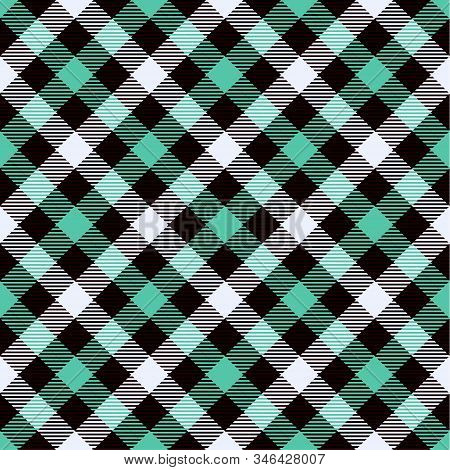 Biscay Green, Black  And  White Tartan  Plaid  Seamless Pattern. Flannel  Shirt Tartan Patterns. Tre