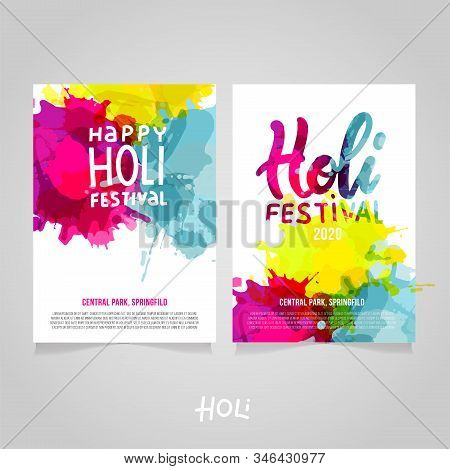 Set Of Holi Festival A4 Backgrounds With Abstract Colorful Rainbow Paint Splashes. Poster, Brochure,