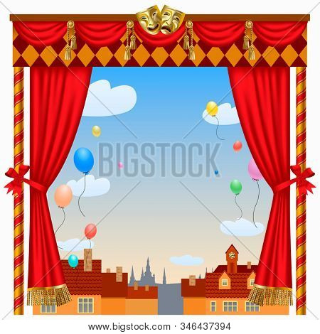 Puppet show booth with theater masks, red curtain, illuminated signboards and city view and colorful balloons in the sky. Artistic and theatrical poster and template design.