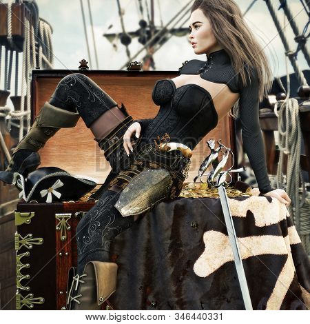 Sexy Adult Female Pirate With Long Brown Hair Enjoying Her Newly Acquired Treasure Aboard Her Pirate
