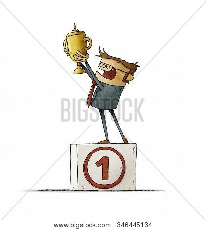 Businessman On A Podium With The Number One Lifts A Trophy With Her Hands. Isolated