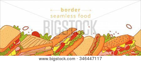 Cartoon Colorful Seamless Pattern Of Appetizing Sandwichs. Nice Fastfood Pattern For Textile, Cafe A