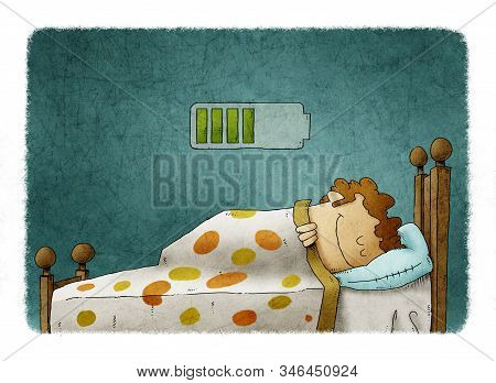 Man Sleeping At Home And Charging Battery, Health Concept