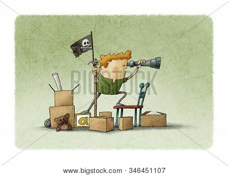 Boy Pretending To Be A Pirate Looks Through A Spyglass. Green Background