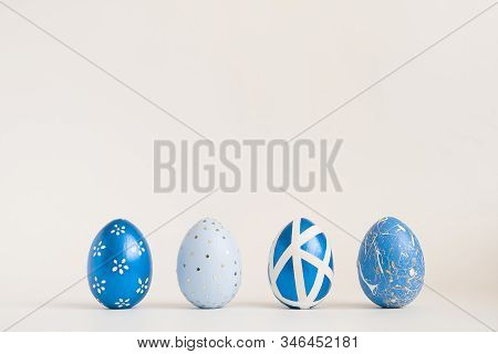 Frame Of Easter Golden Decorated Eggs In Nest Isolated On White Background For Web Banner. Minimal E