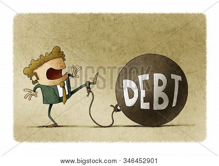 Surprised Businessman Tied To A Big Ball With The Word Debt.