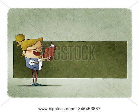 Cute Girl With A Book In His Hands Is Reading, Behind There Is Space In Green To Put Text.